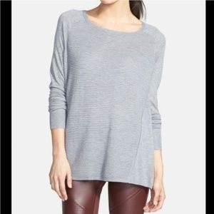 Trouve Soft Grey Horizontal Ribbed Sweater